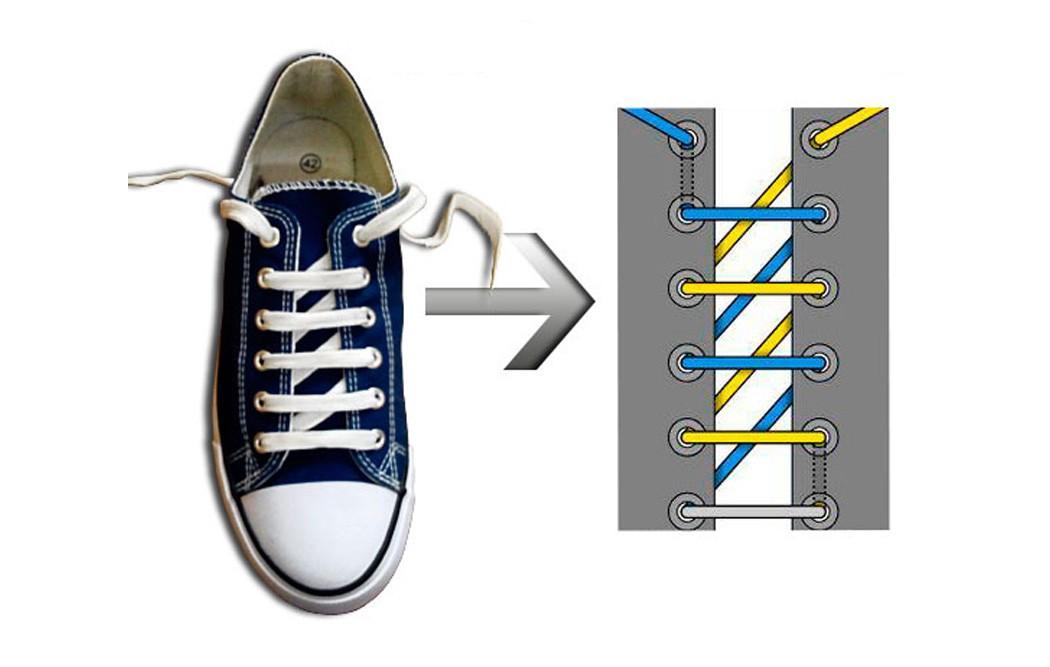 красиво завязать шнурки в картинках обычной